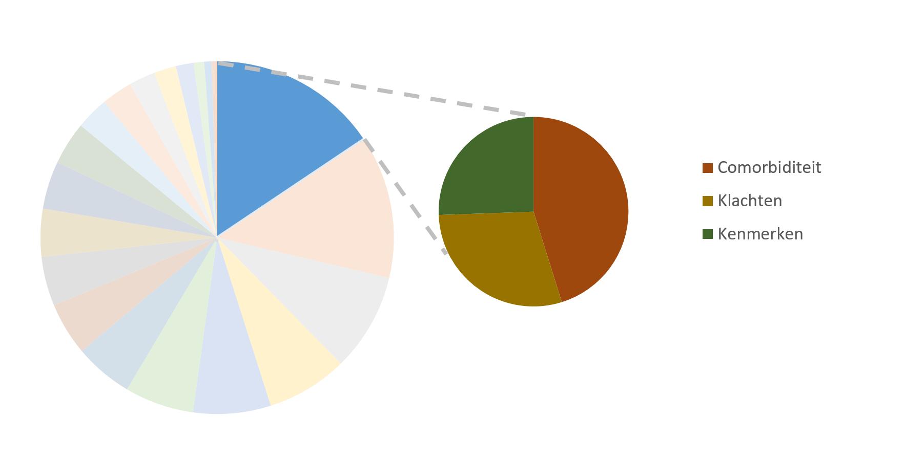 taartdiagram van de subthemas