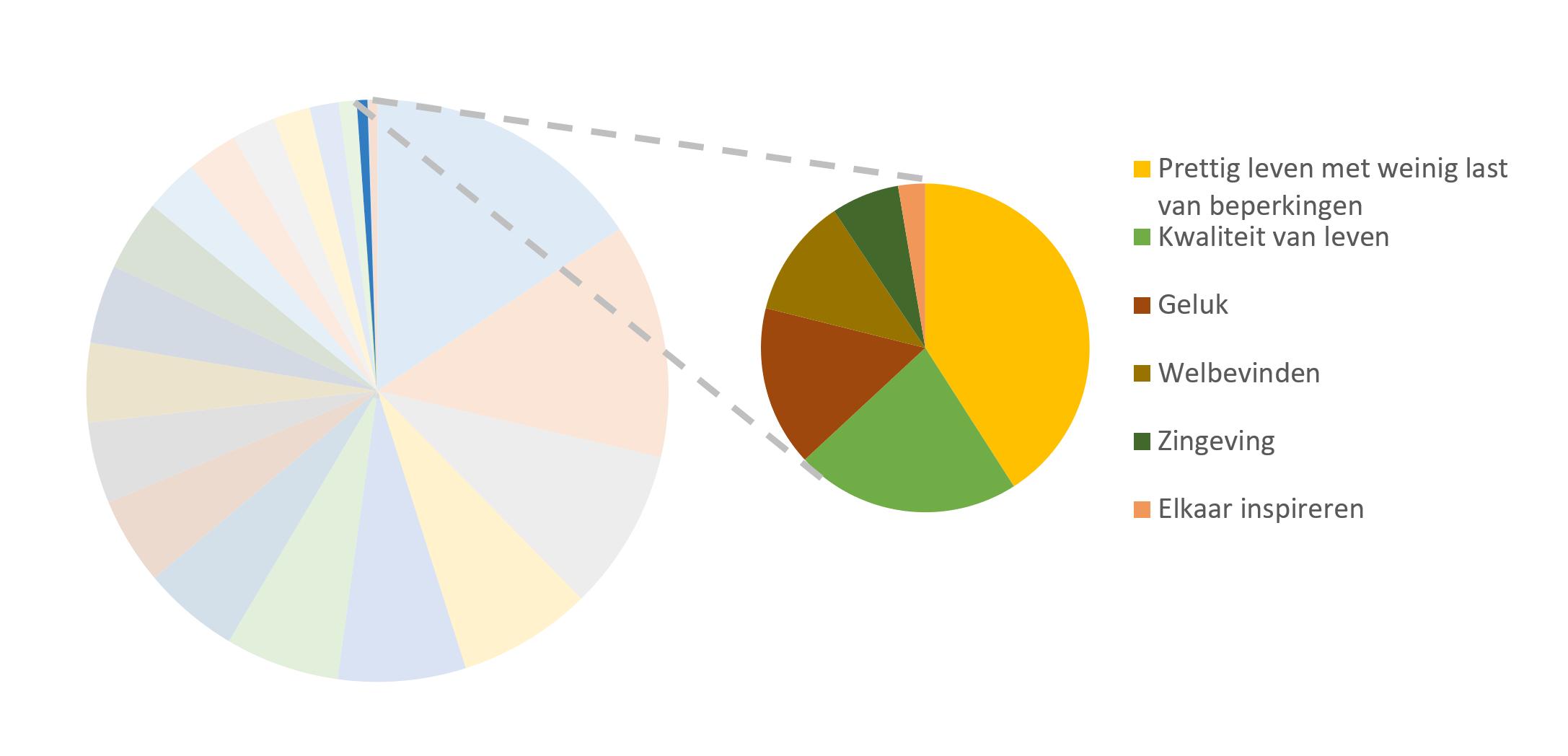 taartdiagram van de subthemas voor het thema Kwaliteit van Leven, Welbevinden en ZIngeving